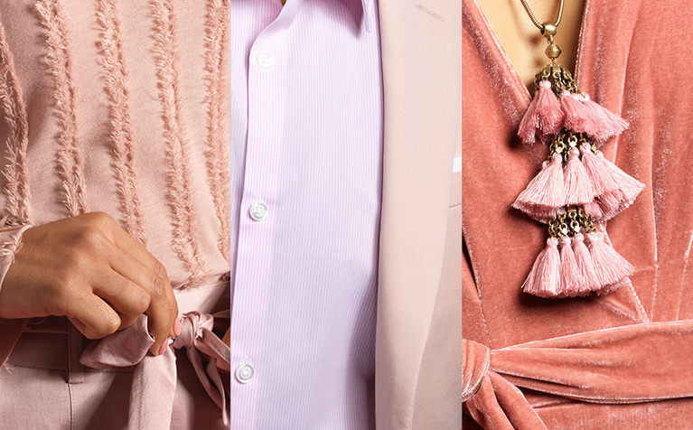 Image of a woman wearig a pink shirt, a man wearing a pink dress shirt, and a woman wearing a salmon-colored dress with a pink necklace